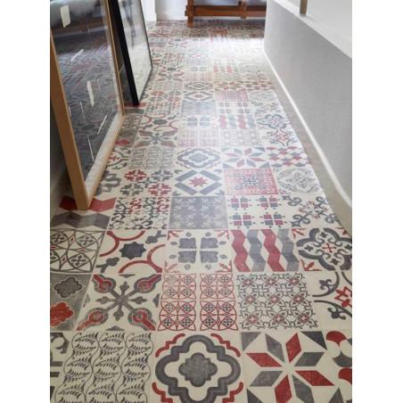 Revêtement PVC - Largeur 2m - Exclusive 240 HAPPY SHAPES - Tarkett - Effet carrelage retro - Almeria Red