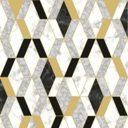 Papier peint vinyle motif hexagonal marbre et doré - HEXAGONE - UGEPA
