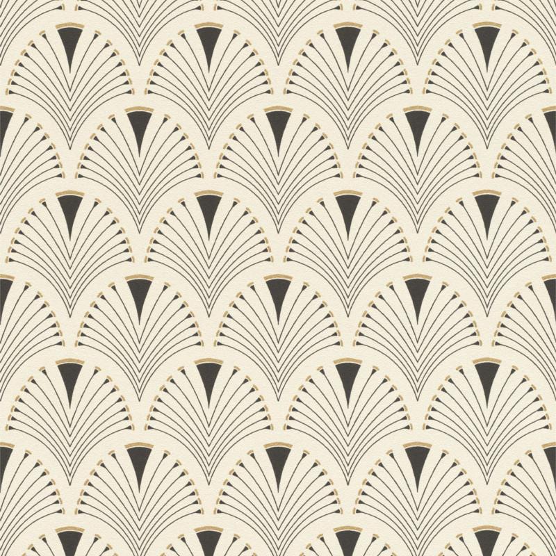 Papier peint intissé motif éventails Cassandre blanc cassé - Home style Rasch