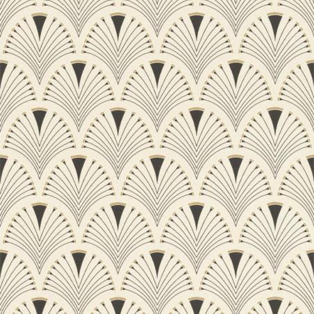 Papier peint intissé motif éventails blanc cassé - Home style Rasch