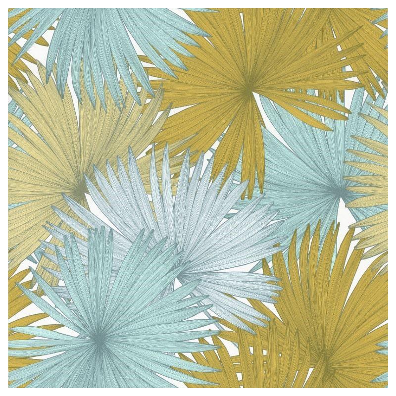 Papier Peint Coconut Feuilles De Cocotier Bleu Vert Jungle Caselio