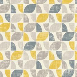 Papier peint intissé Hélice motifs graphiques jaune et gris - Home style Rasch