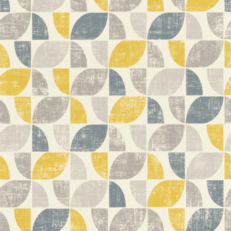 Papier peint intissé Hélice géométrique jaune gris Home style Rasch