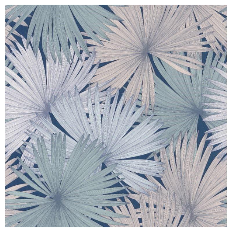 Papier Peint Coconut Feuilles De Cocotier Bleu Rose Jungle Caselio