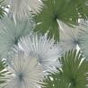Papier peint Coconut Motifs feuilles de cocotier nuances de vert sur fond blanc – JUNGLE - Caselio