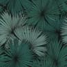 Papier peint Coconut Motifs feuilles de cocotier nuances de vert sur fond noir – JUNGLE - Caselio