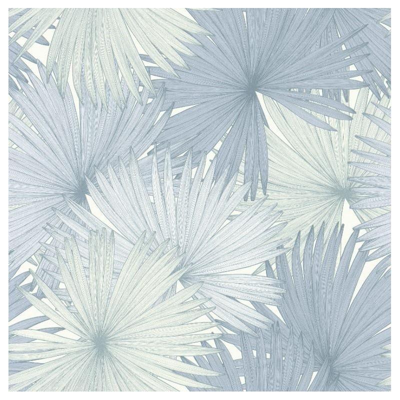 Papier Peint Coconut Feuilles De Cocotier Bleu Jungle Caselio