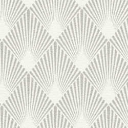 Papier peint intissé motif art déco blanc et gris - Home style Rasch