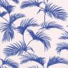 Papier peint Palmes Motifs feuilles de palmier bleu foncé sur fond beige – JUNGLE - Caselio