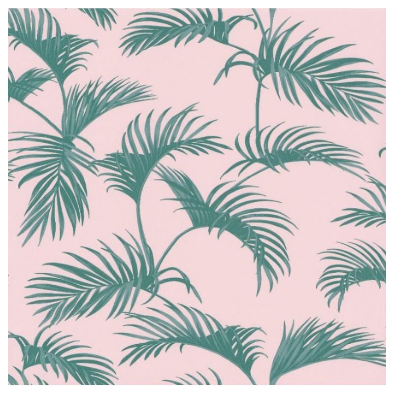 Papier peint Palmes vert et rose - JUNGLE - Caselio - JUN100037900