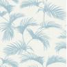 Papier peint Palmes Motifs feuilles de palmier bleu clair sur fond beige – JUNGLE - Caselio