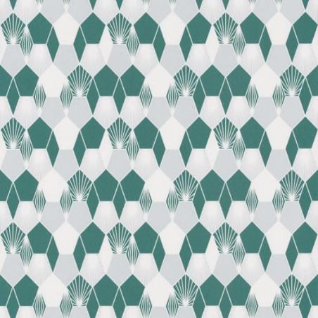Papier peint Hamac Motifs nids d'abeilles bleu/vert – JUNGLE - Caselio