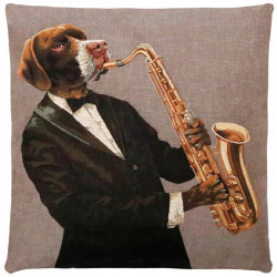 "Coussin FS HOME Musical dogs ""Saxophone"" par Booster"