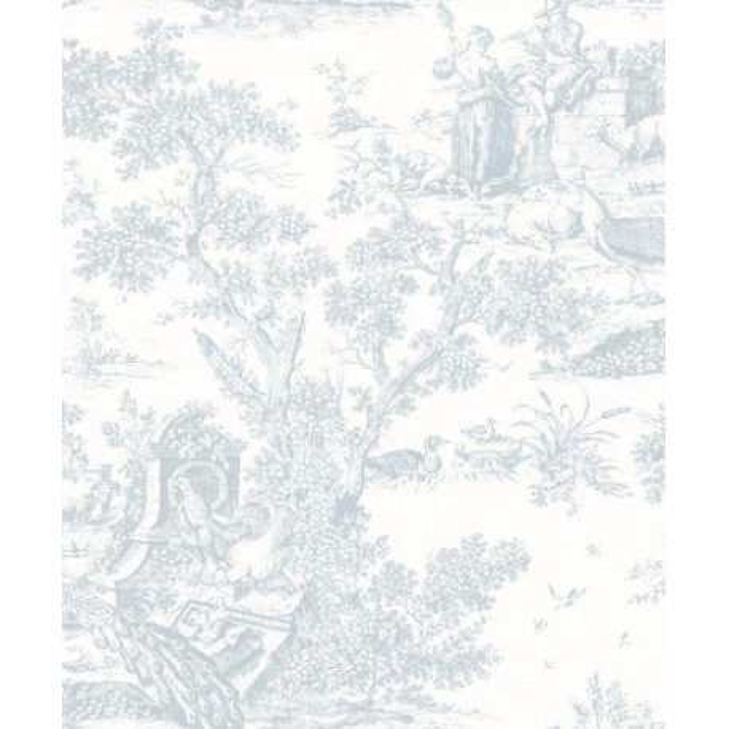 Papier peint à motifs Paon bleu doux - FONTAINEBLEAU - Casadeco