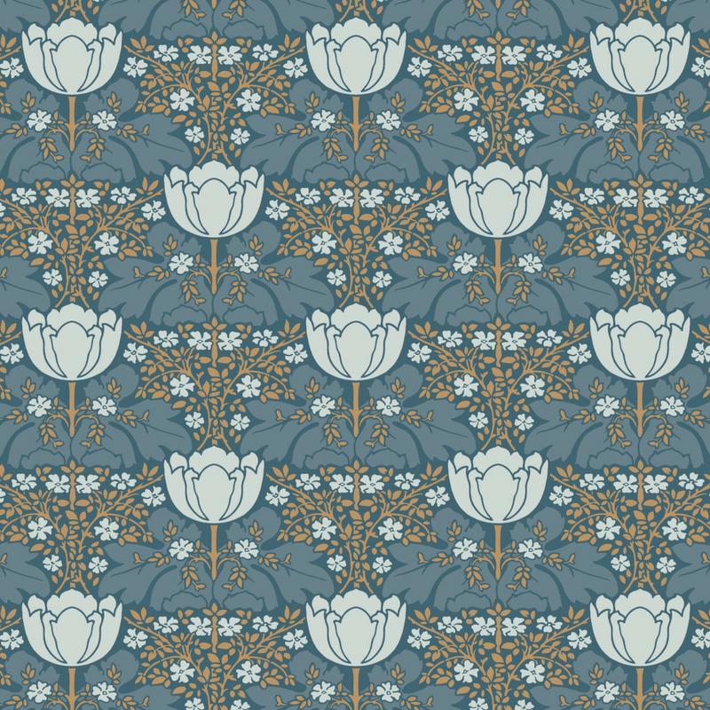 Papier peint Fox Trot bleu canard - BELLE EPOQUE - Casadeco - BEEP82236216