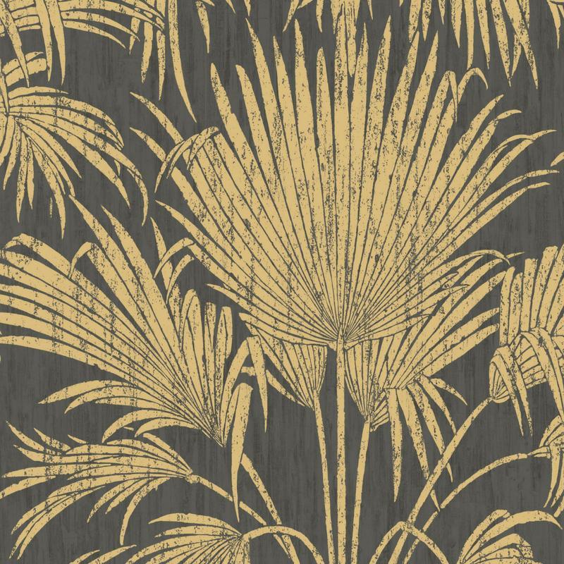 Papier peint intissé JOSEPHINE FOIL noir/doré - Belle Epoque Casadeco