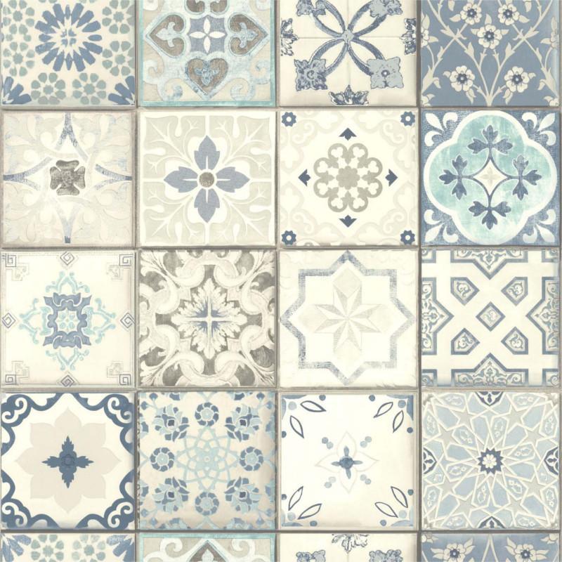 Papier peint vinyle sur intissé Carreaux de ciment bleus gris Lutèce