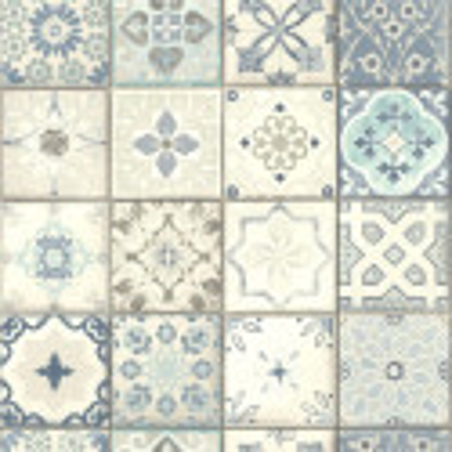 Papier peint vinyle sur intissé Carreaux de ciment bleus et gris - Lutèce