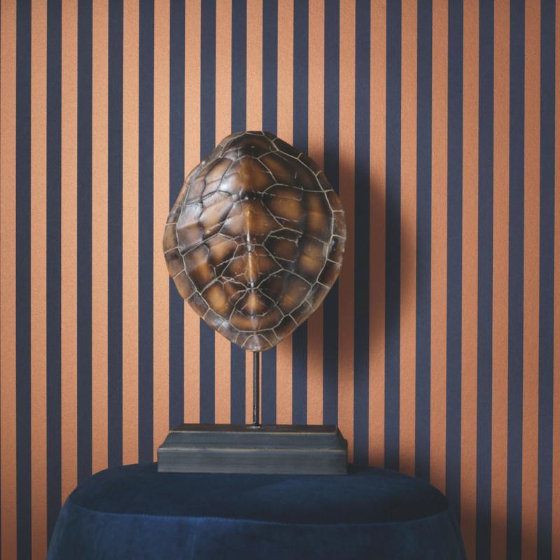 Papier peint intissé rayures PARTITION cuivre - Belle Epoque Casadeco