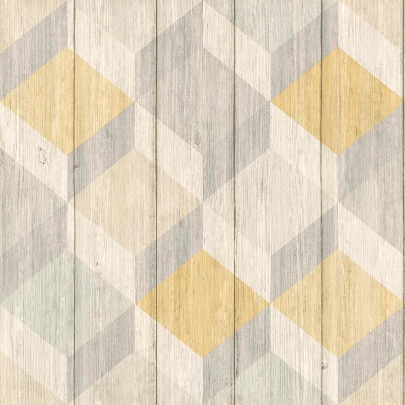 papier peint motif cubes bois jaune et gris inspiration wall. Black Bedroom Furniture Sets. Home Design Ideas