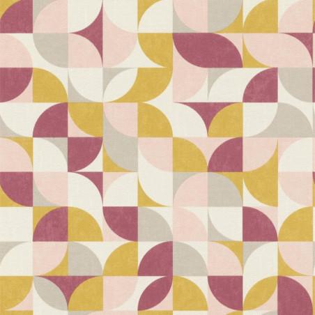 Papier peint intissé Lisa motifs années 60 bordeaux - Rasch