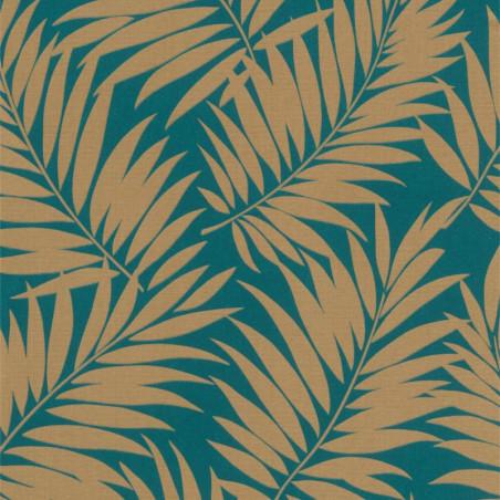 Papier peint intissé Barbara Majorelle feuillage or sur fond bleu - Rasch
