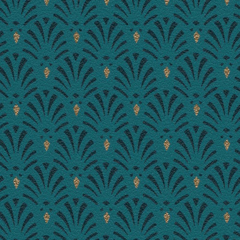 Papier peint Coquilles Art Déco bleu paon - Rasch - 808445