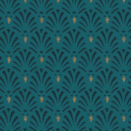 Papier peint intissé Coquilles motif art déco bleu paon - Rasch