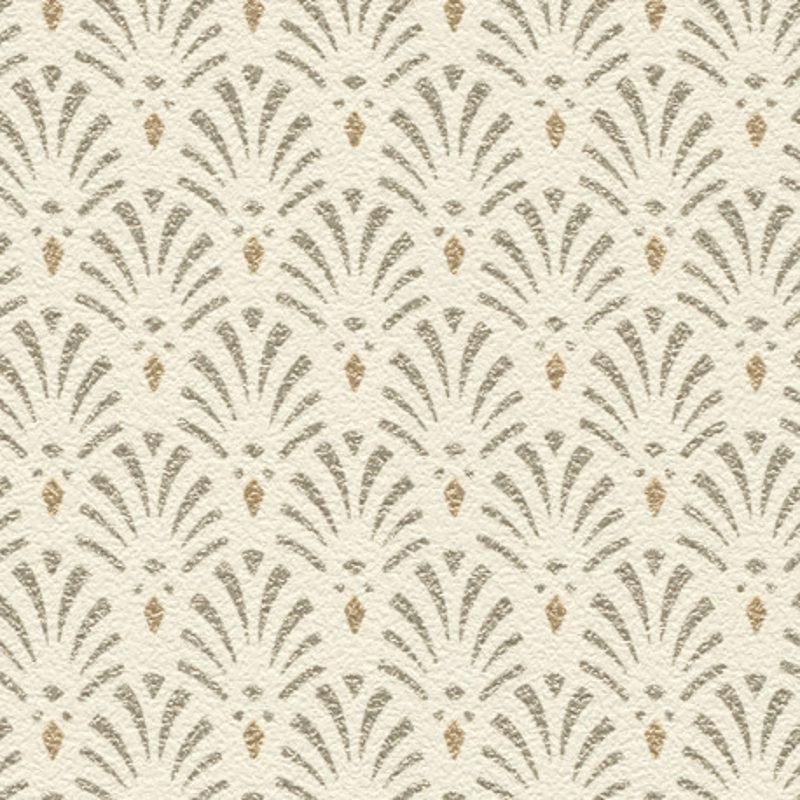 Papier peint Coquilles Art Déco beige - Rasch - 808407