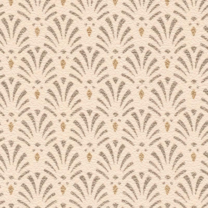 Papier peint intissé Coquilles motif art déco rose pastel - Rasch