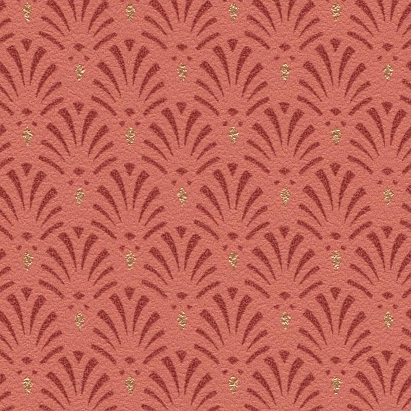 Papier peint Coquilles Art Déco Terracotta - Rasch - 808438
