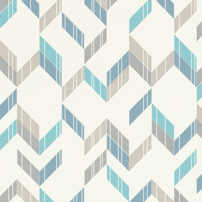 Papier peint intissé Polygone chevrons bleu et gris - Rasch