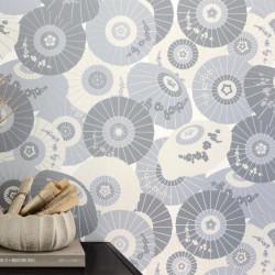 Papier peint WAGAZA gris clair, gris foncé, argent - HANAMI - Caselio