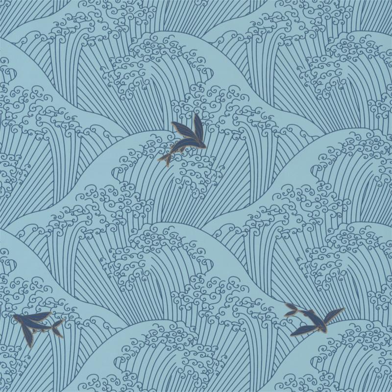 Papier peint Sushi bleu clair et gold - HANAMI - Caselio - HAN100396237