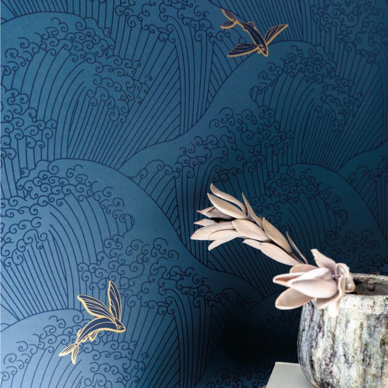 Papier peint Sushi bleu cobalt et gold - HANAMI - Caselio - HAN100396822
