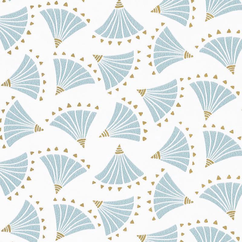 Papier Peint Eventails Origami Bleu Clair Gold Hanami Caselio