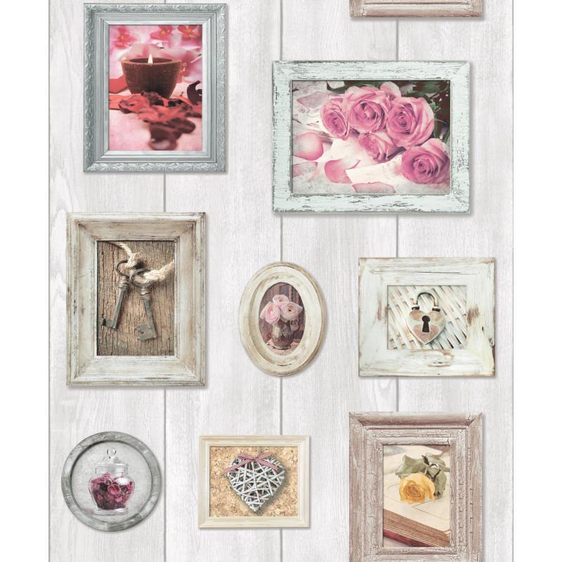 Papier peint Cadres rose - FAUX SEMBLANT - Ugepa - L108-03