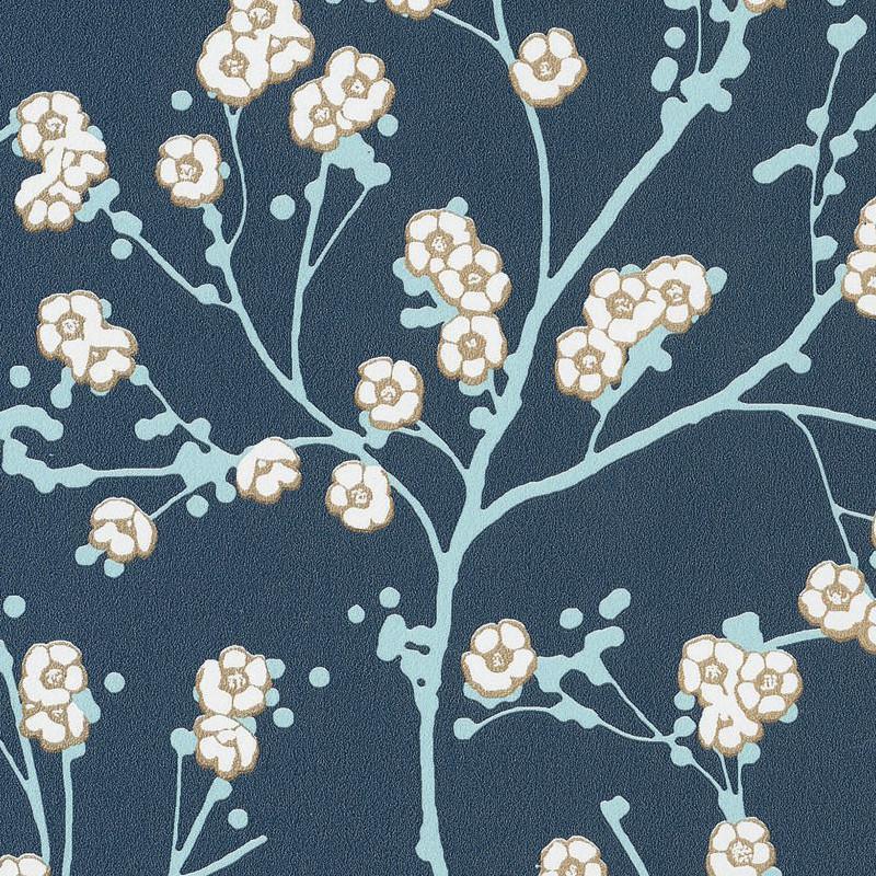 Papier Peint Cerisier Japonais Sakura Gris Hanami Caselio