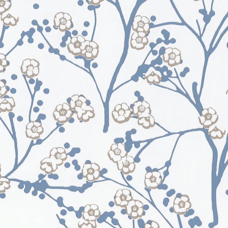 Papier Peint Cerisier Japonais Sakura Bleu Gris Hanami Caselio