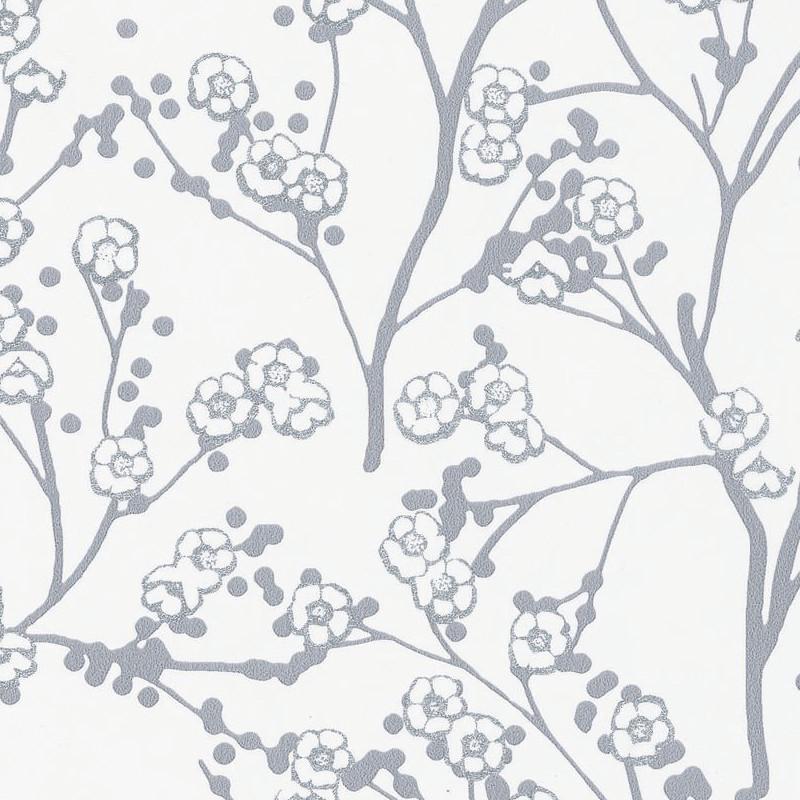 Papier Peint Cerisier Japonais Sakura Argent Hanami Caselio