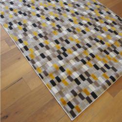 Tapis corde et poil ras Damier rectangles jaunes et gris - 160x230cm - FLOW
