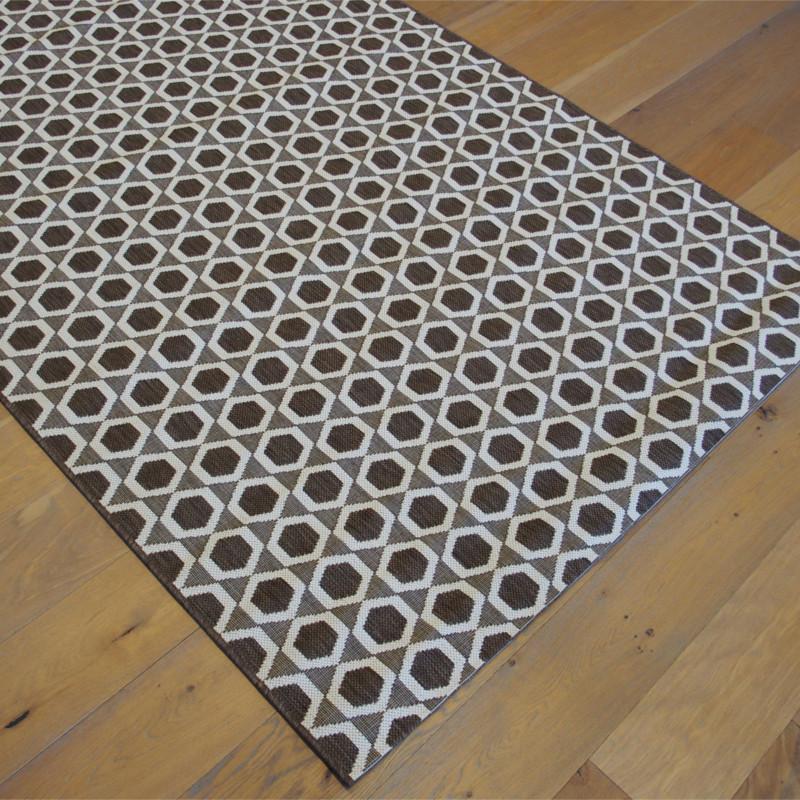Tapis Hexagones chocolat / écru - 160x230cm - ESSENZA BALTA