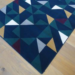 Tapis triangles scandinaves jaune et vert sur fond bleu marine - Canvas