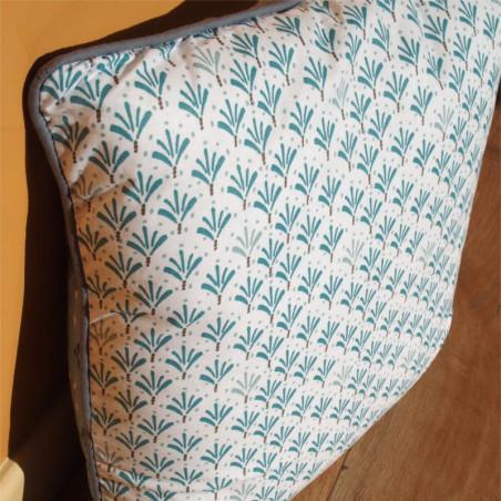 Coussin PALMITO bleu celadon à motifs - 40x40cm