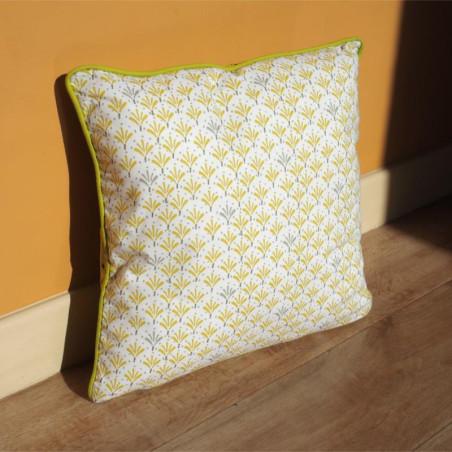 Coussin PALMITO jaune à motifs - 40x40cm