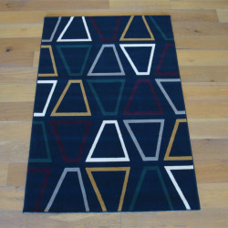 Tapis moderne marine à motifs géométriques - Canvas - 140x200cm
