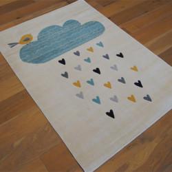 Tapis enfant écru - Nuage bleu et coeurs - Canvas - 120x170cm