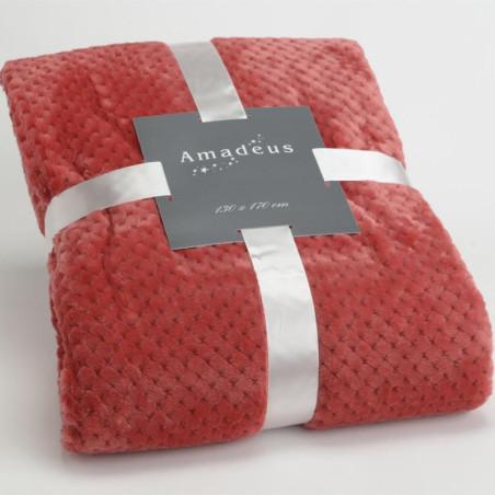 Plaid relief damier uni rouge cranberry - 130x170cm - Amadeus