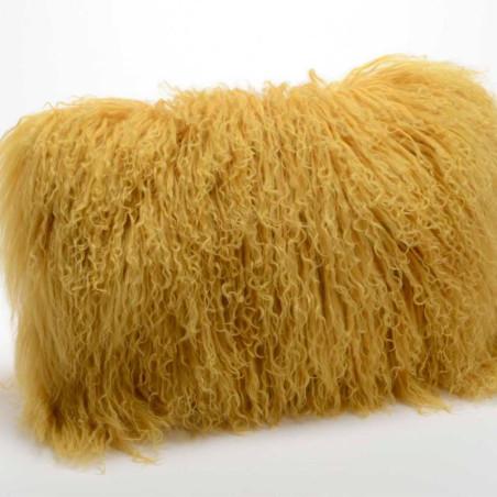 Coussin en poils d'agneau jaune moutarde - 30x50cm - Amadeus