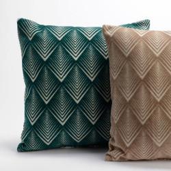 Coussin MARA à motifs géométriques vert ou beige - 45x45cm - Amadeus